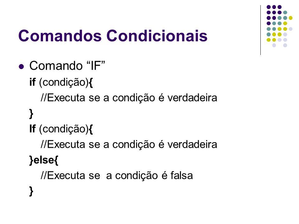 Comandos Condicionais Comando IF if (condição){ //Executa se a condição é verdadeira } If (condição){ //Executa se a condição é verdadeira }else{ //Executa se a condição é falsa }
