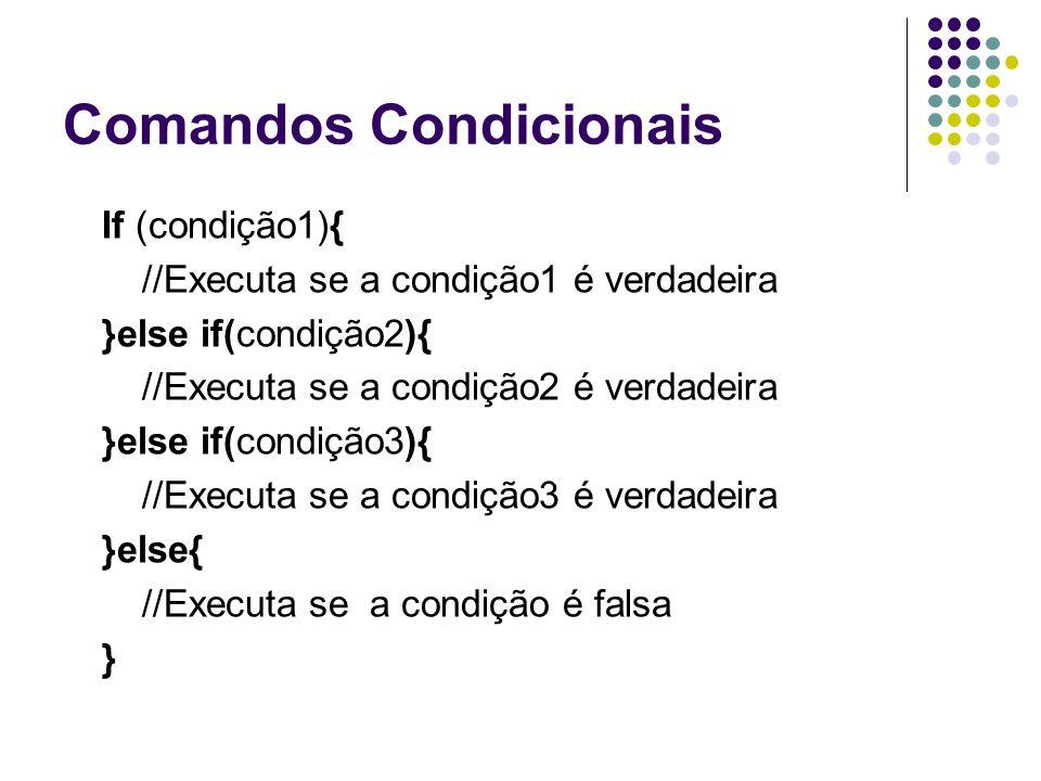 Comandos Condicionais If (condição1){ //Executa se a condição1 é verdadeira }else if(condição2){ //Executa se a condição2 é verdadeira }else if(condição3){ //Executa se a condição3 é verdadeira }else{ //Executa se a condição é falsa }
