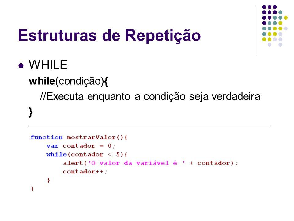 Estruturas de Repetição WHILE while(condição){ //Executa enquanto a condição seja verdadeira }