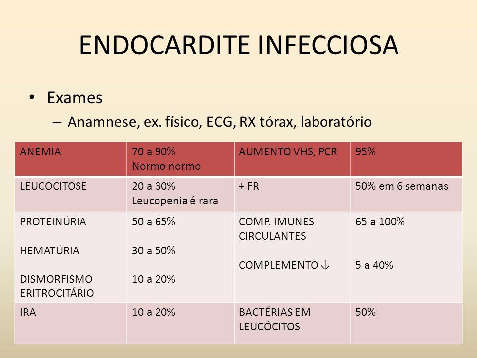 ENDOCARDITE INFECCIOSA Exames – Anamnese, ex. físico, ECG, RX tórax, laboratório ANEMIA70 a 90% Normo normo AUMENTO VHS, PCR95% LEUCOCITOSE20 a 30% Le