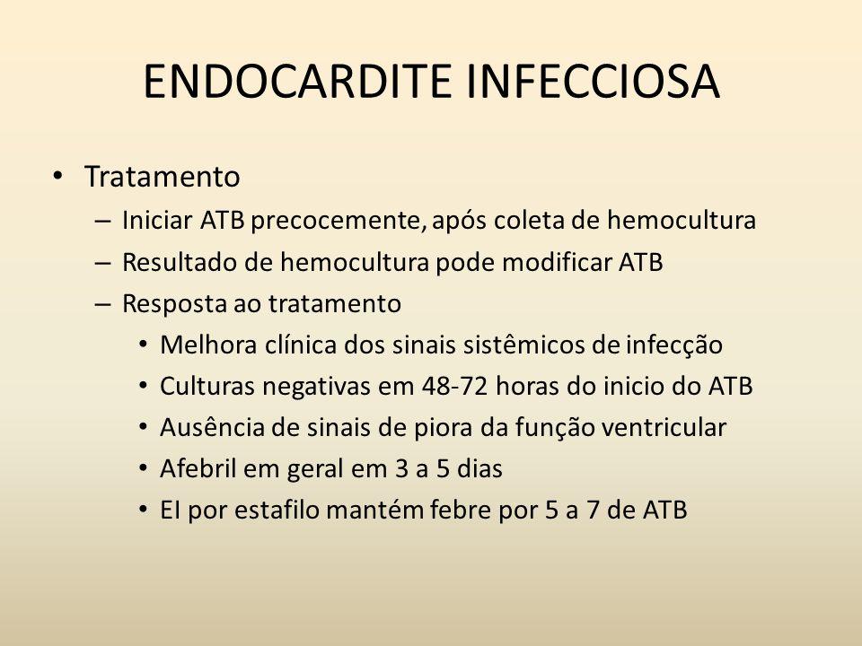 ENDOCARDITE INFECCIOSA Tratamento – Iniciar ATB precocemente, após coleta de hemocultura – Resultado de hemocultura pode modificar ATB – Resposta ao t