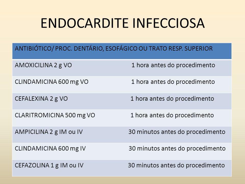 ENDOCARDITE INFECCIOSA ANTIBIÓTICO/ PROC. DENTÁRIO, ESOFÁGICO OU TRATO RESP. SUPERIOR AMOXICILINA 2 g VO 1 hora antes do procedimento CLINDAMICINA 600