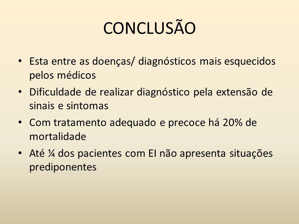 CONCLUSÃO Esta entre as doenças/ diagnósticos mais esquecidos pelos médicos Dificuldade de realizar diagnóstico pela extensão de sinais e sintomas Com