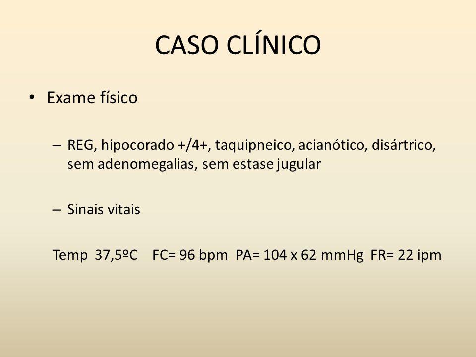 CASO CLÍNICO Exame físico – Bulhas rítmicas, B1 hipofonética, sopro sistólico em foco mitral 2+/4+, ictus palpável 5º EICE linha hemiclavicular – MV diminuído em bases, crepitação em 1/3 inf bilateral – Abdome doloroso difusamente, com fígado palpável há 1 cm do RCD, baço percutível – Algumas escoriações em mmii, sendo uma com hiperemia ao redor e calor local no pé direito – FM grau 3 em demídeo direito
