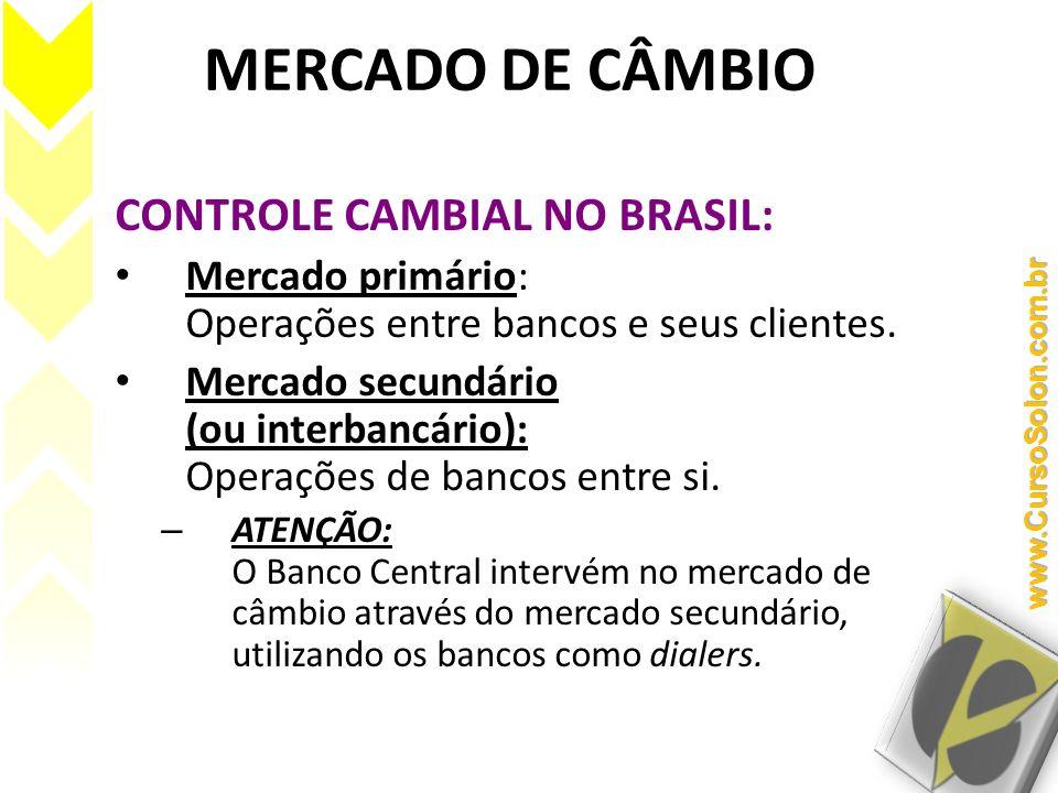 MERCADO DE CÂMBIO CONTROLE CAMBIAL NO BRASIL: Mercado primário: Operações entre bancos e seus clientes. Mercado secundário (ou interbancário): Operaçõ