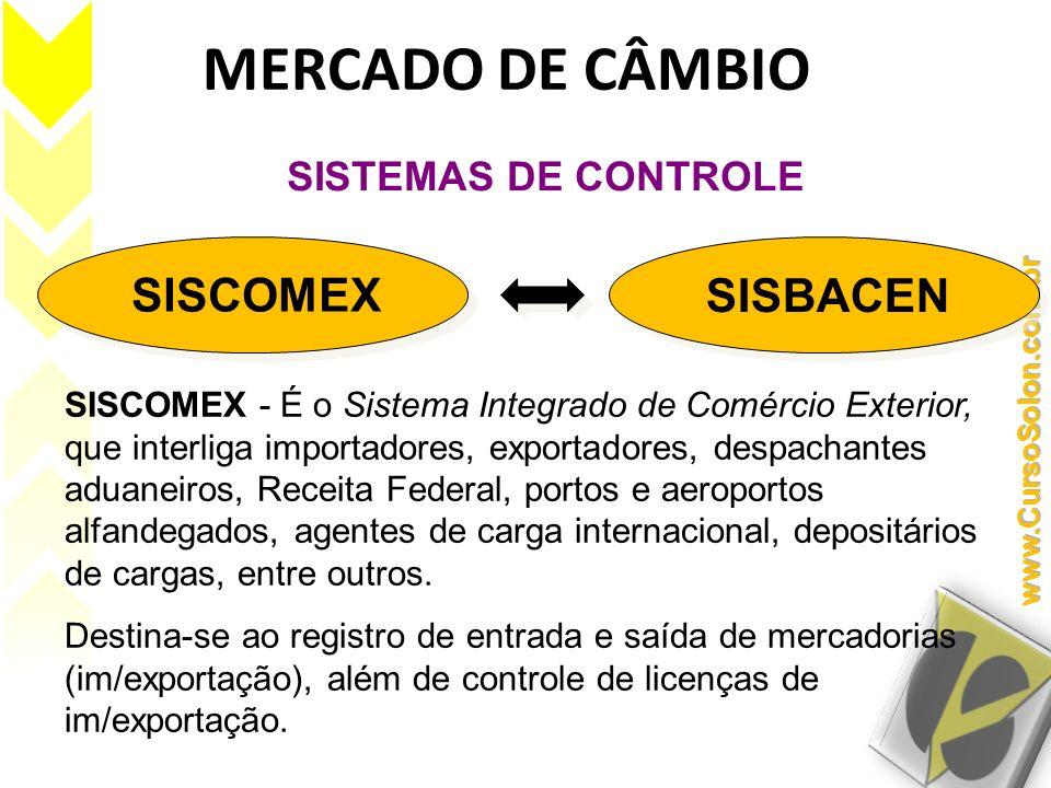 MERCADO DE CÂMBIO SISCOMEX SISBACEN SISTEMAS DE CONTROLE SISCOMEX - É o Sistema Integrado de Comércio Exterior, que interliga importadores, exportador