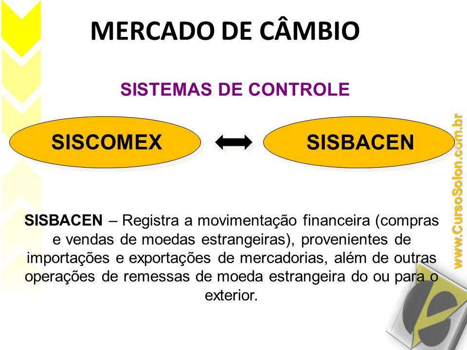 MERCADO DE CÂMBIO SISCOMEX SISBACEN SISTEMAS DE CONTROLE SISBACEN – Registra a movimentação financeira (compras e vendas de moedas estrangeiras), prov