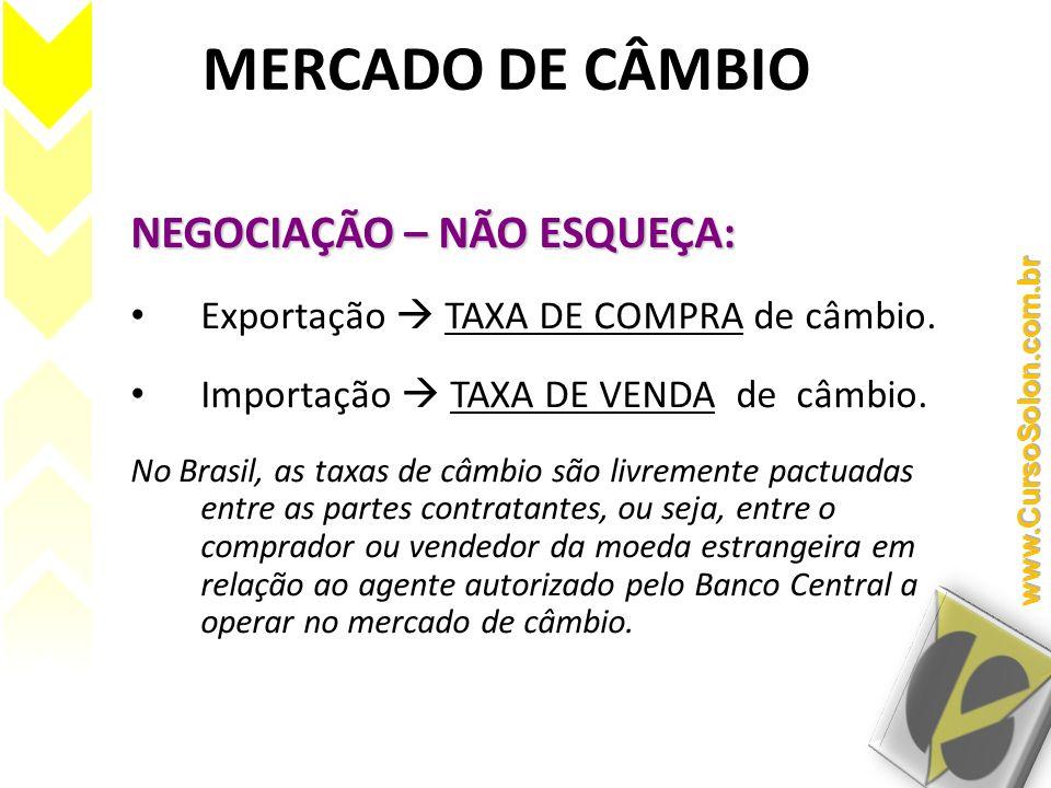 MERCADO DE CÂMBIO NEGOCIAÇÃO – NÃO ESQUEÇA: Exportação TAXA DE COMPRA de câmbio. Importação TAXA DE VENDA de câmbio. No Brasil, as taxas de câmbio são