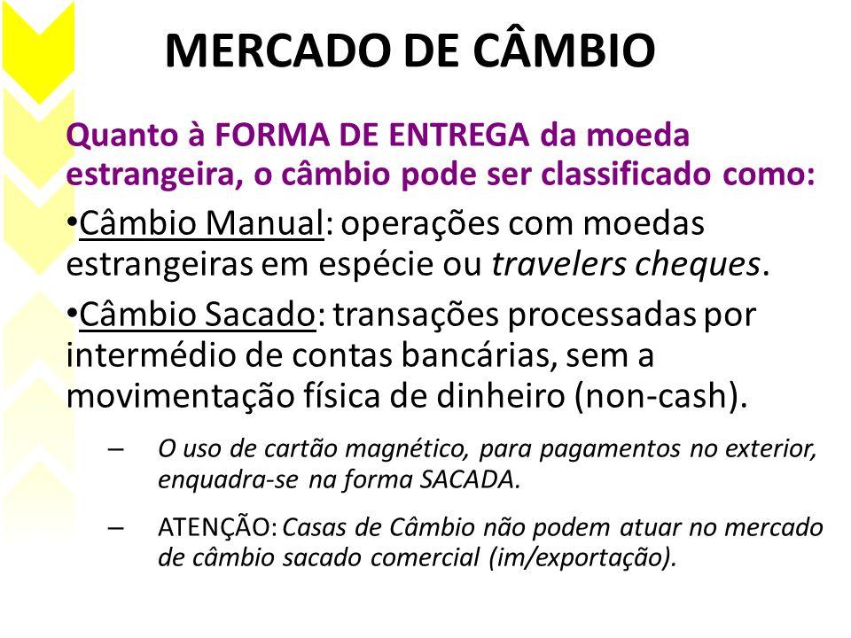 MERCADO DE CÂMBIO Quanto à FORMA DE ENTREGA da moeda estrangeira, o câmbio pode ser classificado como: Câmbio Manual: operações com moedas estrangeira