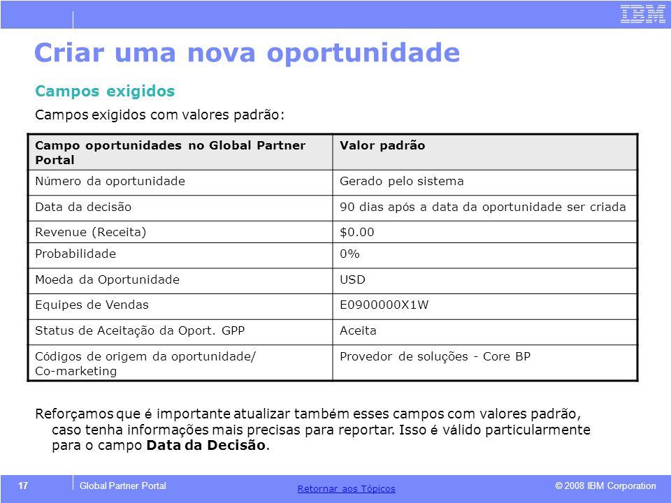 © 2008 IBM Corporation Retornar aos T ó picos 17Global Partner Portal Criar uma nova oportunidade Campos exigidos Campos exigidos com valores padrão: