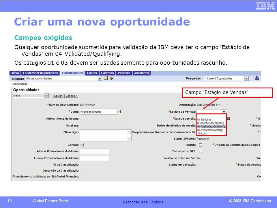© 2008 IBM Corporation Retornar aos T ó picos 19Global Partner Portal Criar uma nova oportunidade Campos exigidos Qualquer oportunidade submetida para