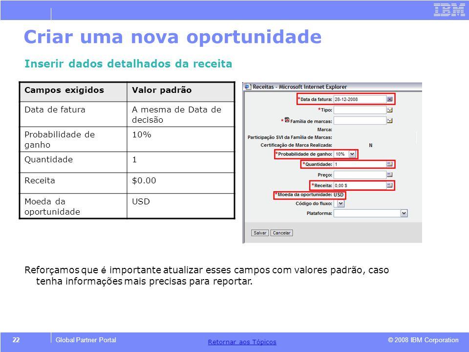 © 2008 IBM Corporation Retornar aos T ó picos 22Global Partner Portal Criar uma nova oportunidade Inserir dados detalhados da receita Campos exigidosV