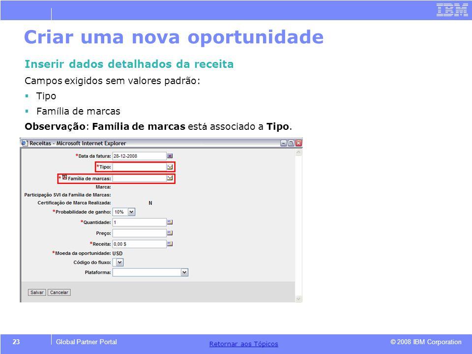 © 2008 IBM Corporation Retornar aos T ó picos 23Global Partner Portal Criar uma nova oportunidade Inserir dados detalhados da receita Campos exigidos