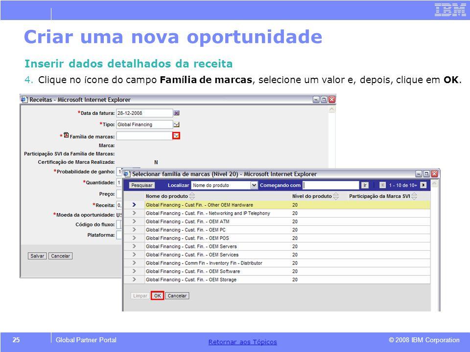 © 2008 IBM Corporation Retornar aos T ó picos 25Global Partner Portal Criar uma nova oportunidade Inserir dados detalhados da receita 4.Clique no í co