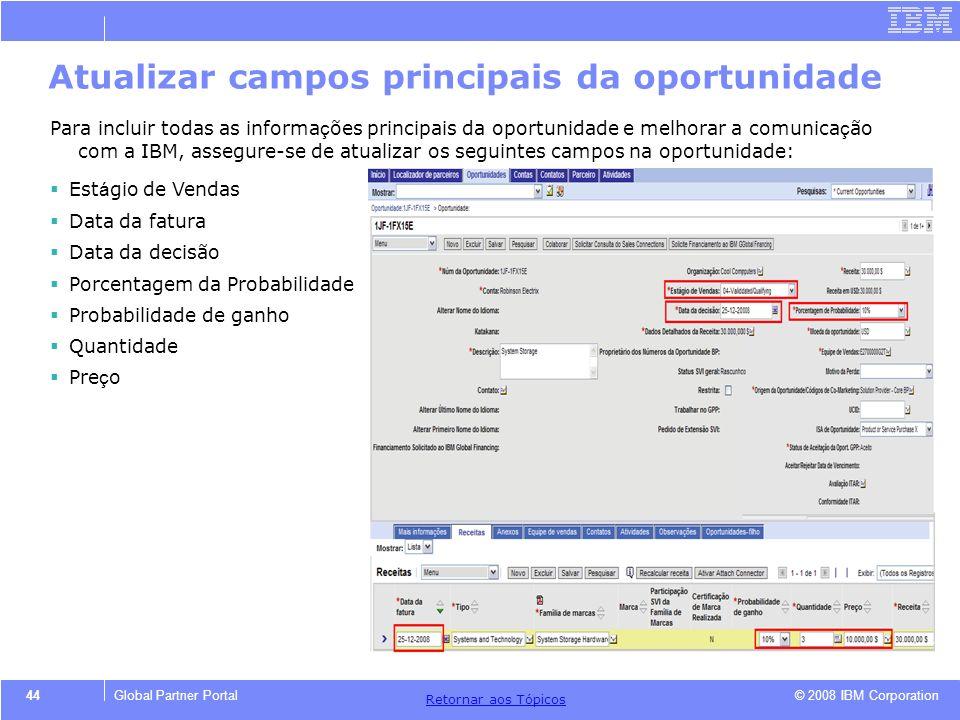 © 2008 IBM Corporation Retornar aos T ó picos 44Global Partner Portal Atualizar campos principais da oportunidade Para incluir todas as informa ç ões