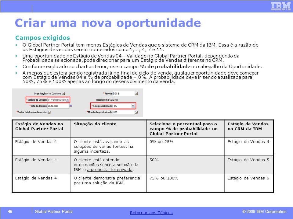 © 2008 IBM Corporation Retornar aos T ó picos 46Global Partner Portal Criar uma nova oportunidade Campos exigidos O Global Partner Portal tem menos Es