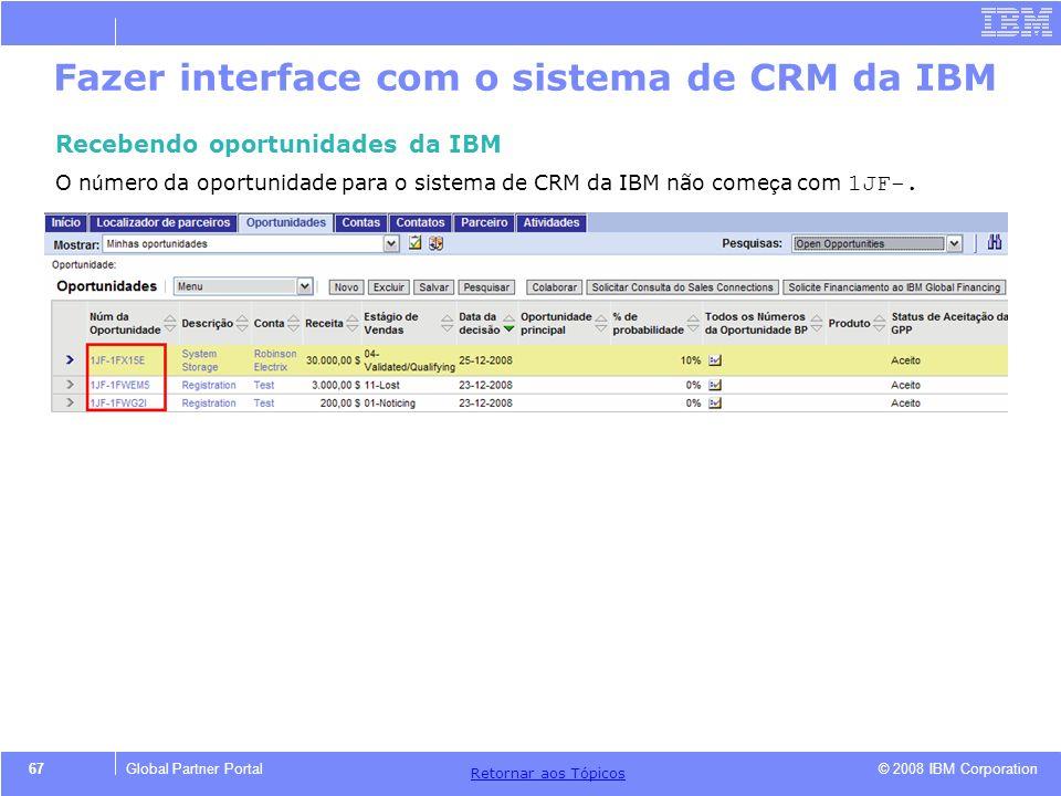 © 2008 IBM Corporation Retornar aos T ó picos 67Global Partner Portal Fazer interface com o sistema de CRM da IBM Recebendo oportunidades da IBM O n ú
