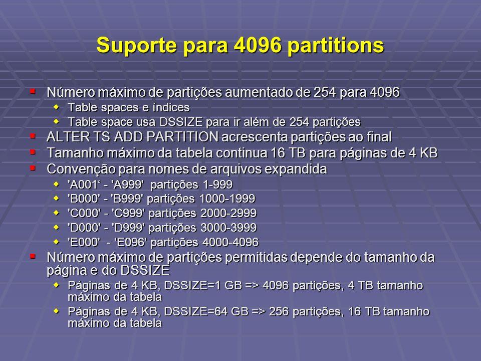 Suporte para 4096 partitions Número máximo de partições aumentado de 254 para 4096 Número máximo de partições aumentado de 254 para 4096 Table spaces