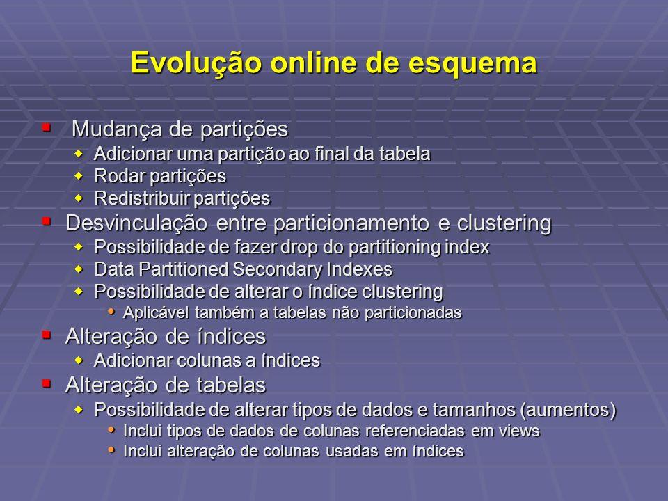 Evolução online de esquema Mudança de partições Mudança de partições Adicionar uma partição ao final da tabela Adicionar uma partição ao final da tabe