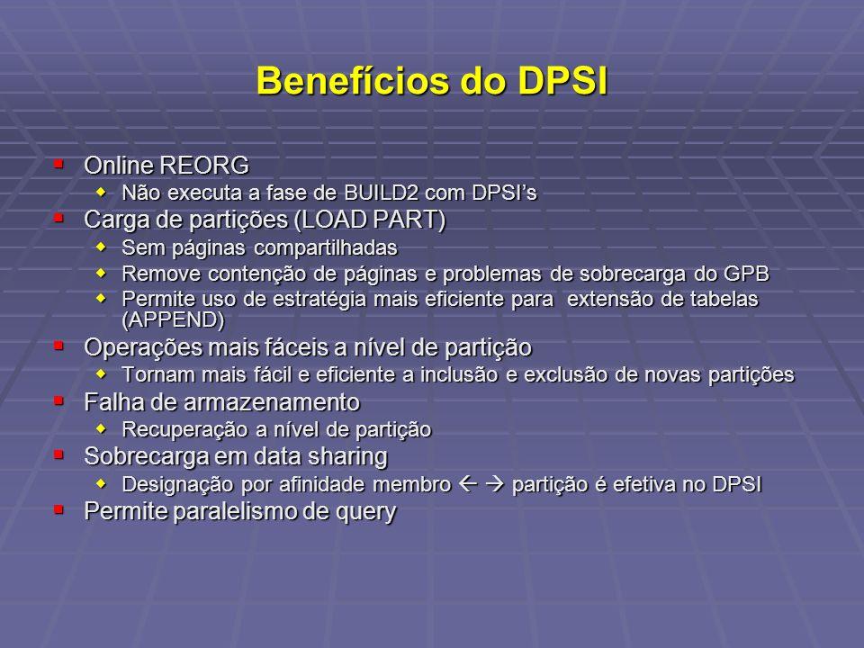 Benefícios do DPSI Online REORG Online REORG Não executa a fase de BUILD2 com DPSIs Não executa a fase de BUILD2 com DPSIs Carga de partições (LOAD PART) Carga de partições (LOAD PART) Sem páginas compartilhadas Sem páginas compartilhadas Remove contenção de páginas e problemas de sobrecarga do GPB Remove contenção de páginas e problemas de sobrecarga do GPB Permite uso de estratégia mais eficiente para extensão de tabelas (APPEND) Permite uso de estratégia mais eficiente para extensão de tabelas (APPEND) Operações mais fáceis a nível de partição Operações mais fáceis a nível de partição Tornam mais fácil e eficiente a inclusão e exclusão de novas partições Tornam mais fácil e eficiente a inclusão e exclusão de novas partições Falha de armazenamento Falha de armazenamento Recuperação a nível de partição Recuperação a nível de partição Sobrecarga em data sharing Sobrecarga em data sharing Designação por afinidade membro partição é efetiva no DPSI Designação por afinidade membro partição é efetiva no DPSI Permite paralelismo de query Permite paralelismo de query