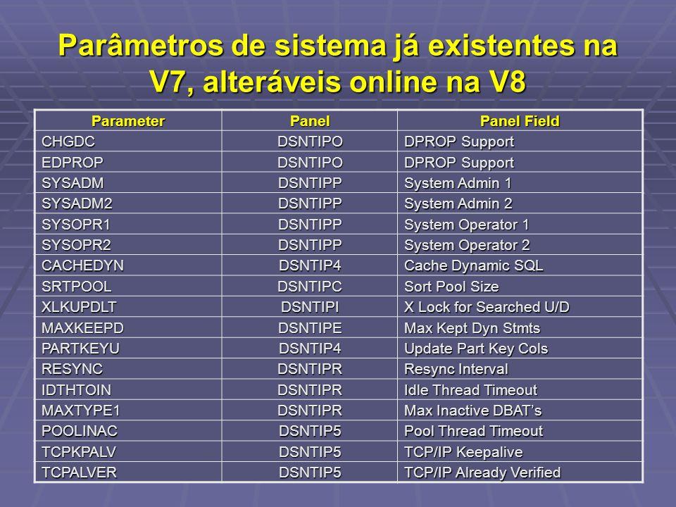 Parâmetros de sistema já existentes na V7, alteráveis online na V8 ParameterPanel Panel Field CHGDCDSNTIPO DPROP Support EDPROPDSNTIPO SYSADMDSNTIPP S
