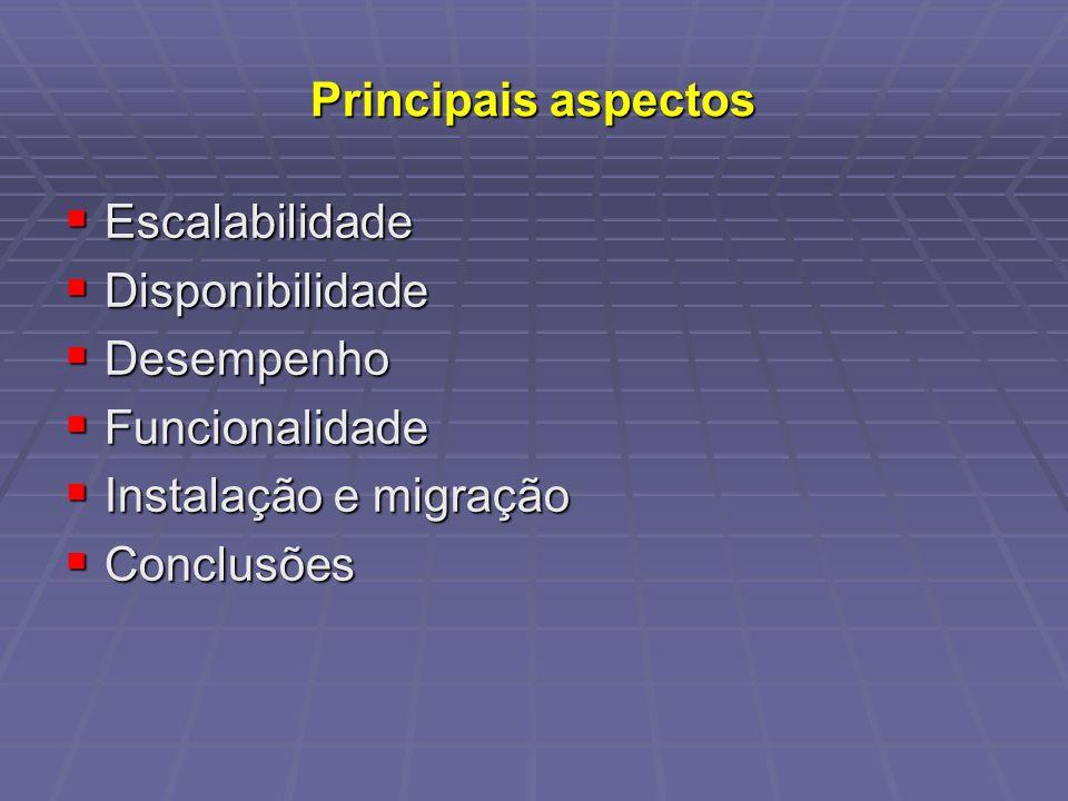 Principais aspectos Escalabilidade Escalabilidade Disponibilidade Disponibilidade Desempenho Desempenho Funcionalidade Funcionalidade Instalação e mig