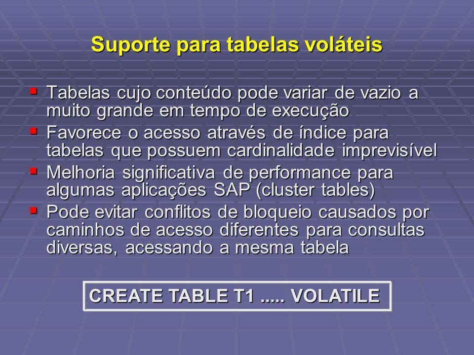 Suporte para tabelas voláteis Tabelas cujo conteúdo pode variar de vazio a muito grande em tempo de execução Tabelas cujo conteúdo pode variar de vazio a muito grande em tempo de execução Favorece o acesso através de índice para tabelas que possuem cardinalidade imprevisível Favorece o acesso através de índice para tabelas que possuem cardinalidade imprevisível Melhoria significativa de performance para algumas aplicações SAP (cluster tables) Melhoria significativa de performance para algumas aplicações SAP (cluster tables) Pode evitar conflitos de bloqueio causados por caminhos de acesso diferentes para consultas diversas, acessando a mesma tabela Pode evitar conflitos de bloqueio causados por caminhos de acesso diferentes para consultas diversas, acessando a mesma tabela CREATE TABLE T1.....