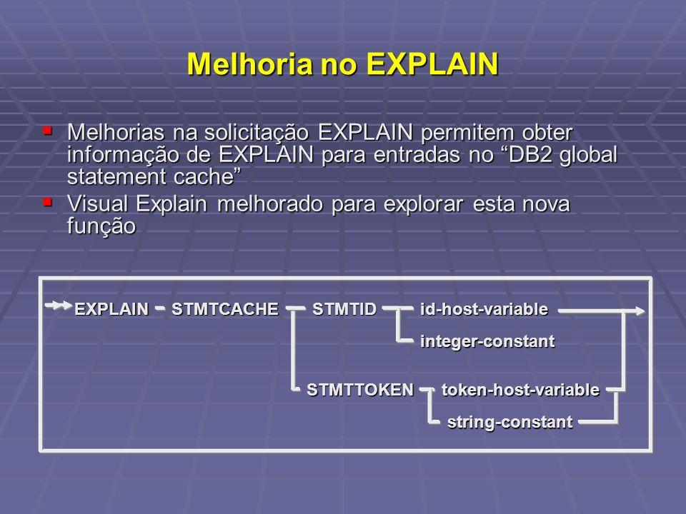 Melhoria no EXPLAIN Melhorias na solicitação EXPLAIN permitem obter informação de EXPLAIN para entradas no DB2 global statement cache Melhorias na sol