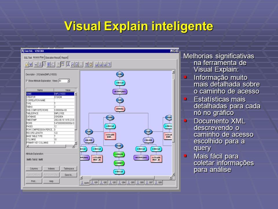 Visual Explain inteligente Melhorias significativas na ferramenta de Visual Explain: Informação muito mais detalhada sobre o caminho de acesso Informação muito mais detalhada sobre o caminho de acesso Estatísticas mais detalhadas para cada nó no gráfico Estatísticas mais detalhadas para cada nó no gráfico Documento XML descrevendo o caminho de acesso escolhido para a query Documento XML descrevendo o caminho de acesso escolhido para a query Mais fácil para coletar informações para análise Mais fácil para coletar informações para análise