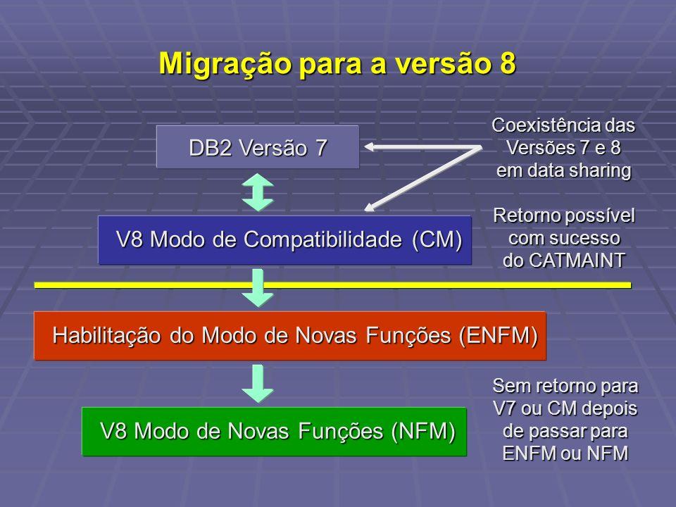 Migração para a versão 8 DB2 Versão 7 V8 Modo de Compatibilidade (CM) Habilitação do Modo de Novas Funções (ENFM) V8 Modo de Novas Funções (NFM) Retorno possível com sucesso do CATMAINT Coexistência das Versões 7 e 8 em data sharing Sem retorno para V7 ou CM depois de passar para ENFM ou NFM