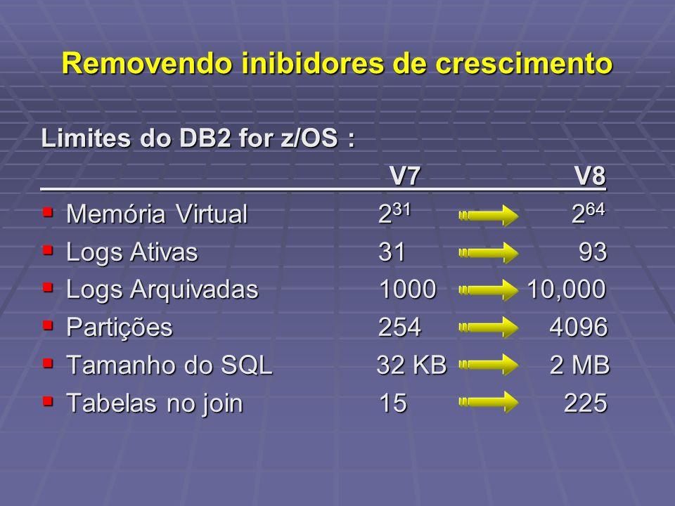 Removendo inibidores de crescimento Limites do DB2 for z/OS : V7 V8 V7 V8 Memória Virtual 2 31 2 64 Memória Virtual 2 31 2 64 Logs Ativas 31 93 Logs Ativas 31 93 Logs Arquivadas 1000 10,000 Logs Arquivadas 1000 10,000 Partições 254 4096 Partições 254 4096 Tamanho do SQL 32 KB 2 MB Tamanho do SQL 32 KB 2 MB Tabelas no join 15 225 Tabelas no join 15 225
