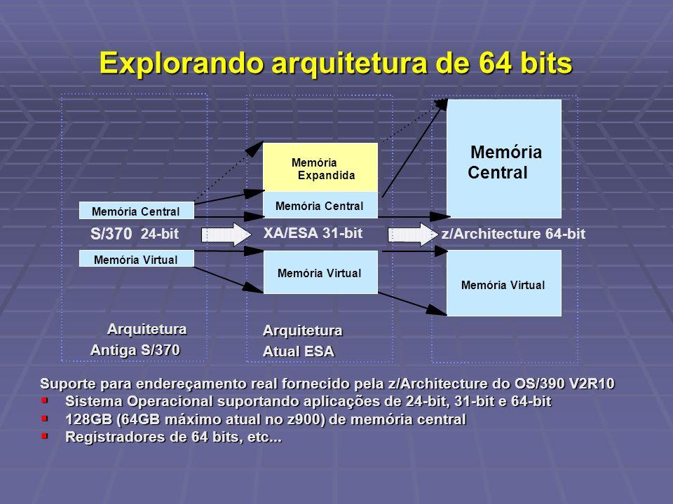 Explorando arquitetura de 64 bits Suporte para endereçamento real fornecido pela z/Architecture do OS/390 V2R10 Sistema Operacional suportando aplicaç