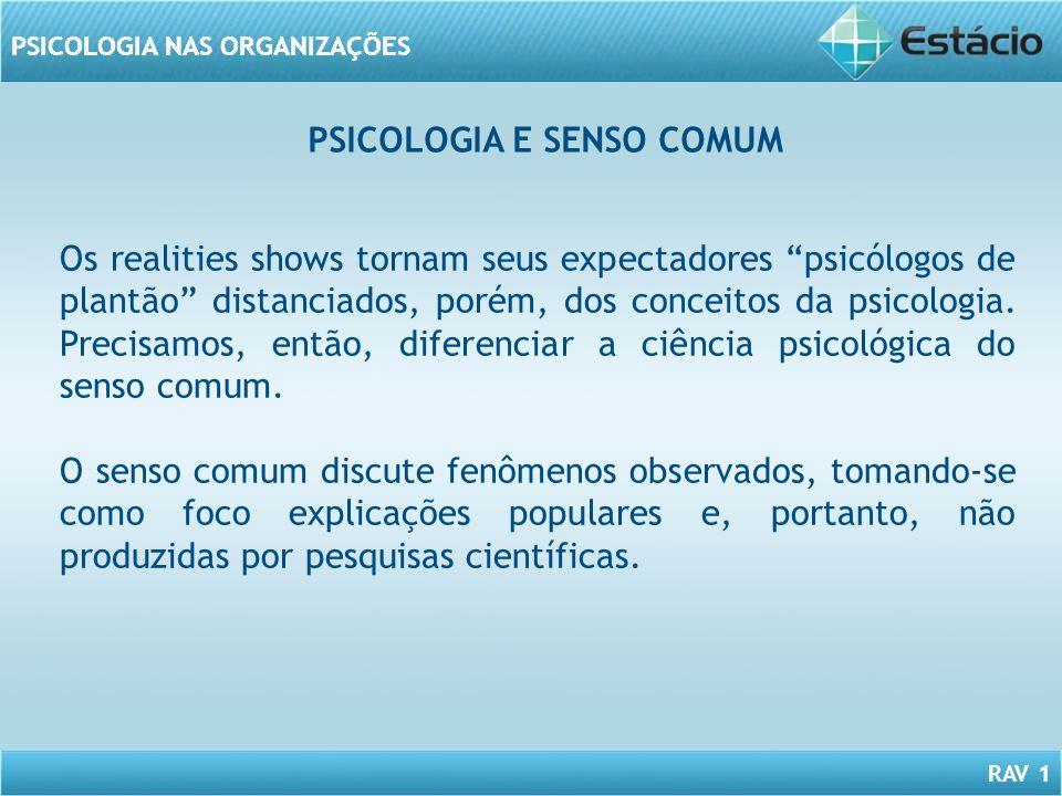 RAV 1 PSICOLOGIA NAS ORGANIZAÇÕES PSICOLOGIA E SENSO COMUM Os realities shows tornam seus expectadores psicólogos de plantão distanciados, porém, dos