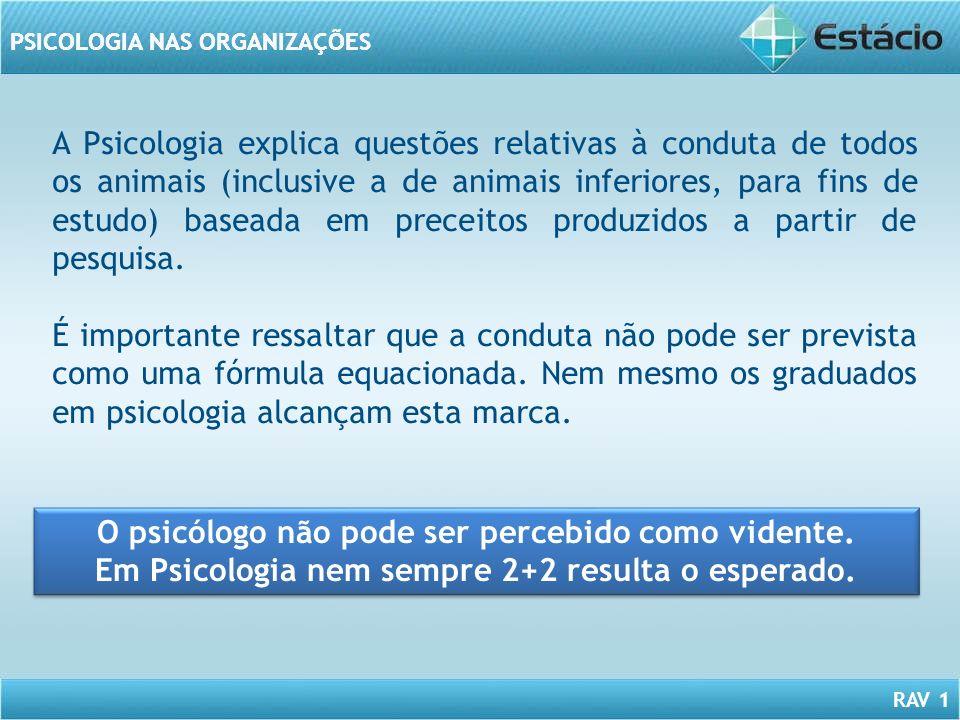 RAV 1 PSICOLOGIA NAS ORGANIZAÇÕES A Psicologia explica questões relativas à conduta de todos os animais (inclusive a de animais inferiores, para fins