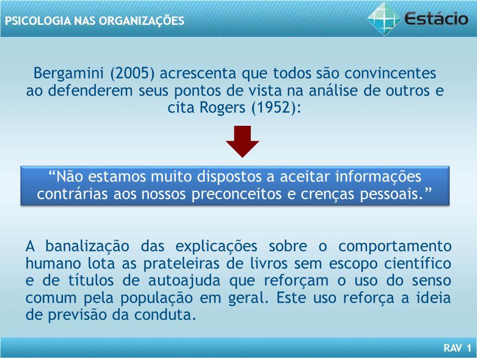RAV 1 PSICOLOGIA NAS ORGANIZAÇÕES Bergamini (2005) acrescenta que todos são convincentes ao defenderem seus pontos de vista na análise de outros e cit
