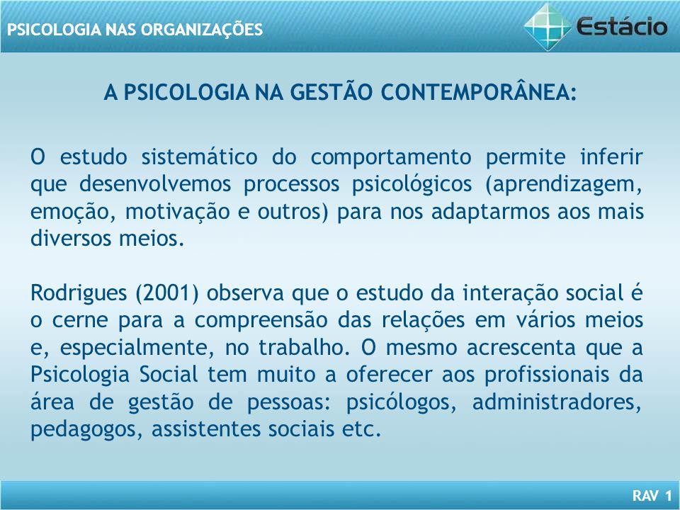 RAV 1 PSICOLOGIA NAS ORGANIZAÇÕES O estudo sistemático do comportamento permite inferir que desenvolvemos processos psicológicos (aprendizagem, emoção