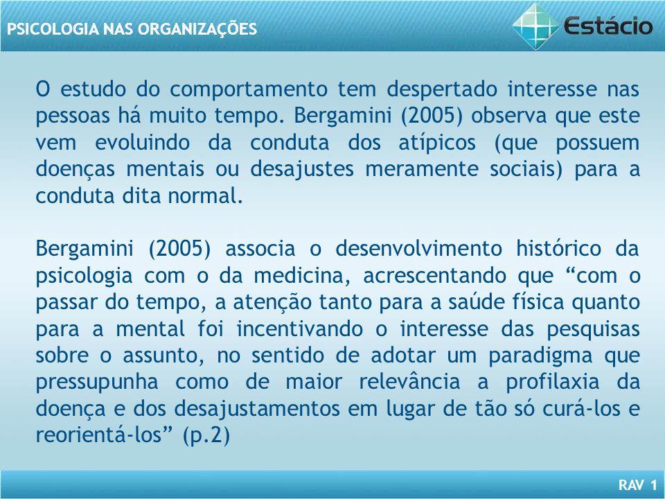 RAV 1 PSICOLOGIA NAS ORGANIZAÇÕES O estudo do comportamento tem despertado interesse nas pessoas há muito tempo. Bergamini (2005) observa que este vem