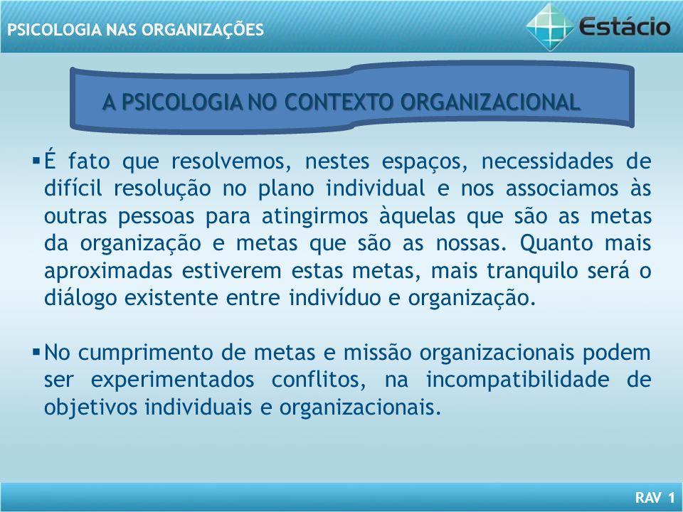 RAV 1 PSICOLOGIA NAS ORGANIZAÇÕES É fato que resolvemos, nestes espaços, necessidades de difícil resolução no plano individual e nos associamos às out