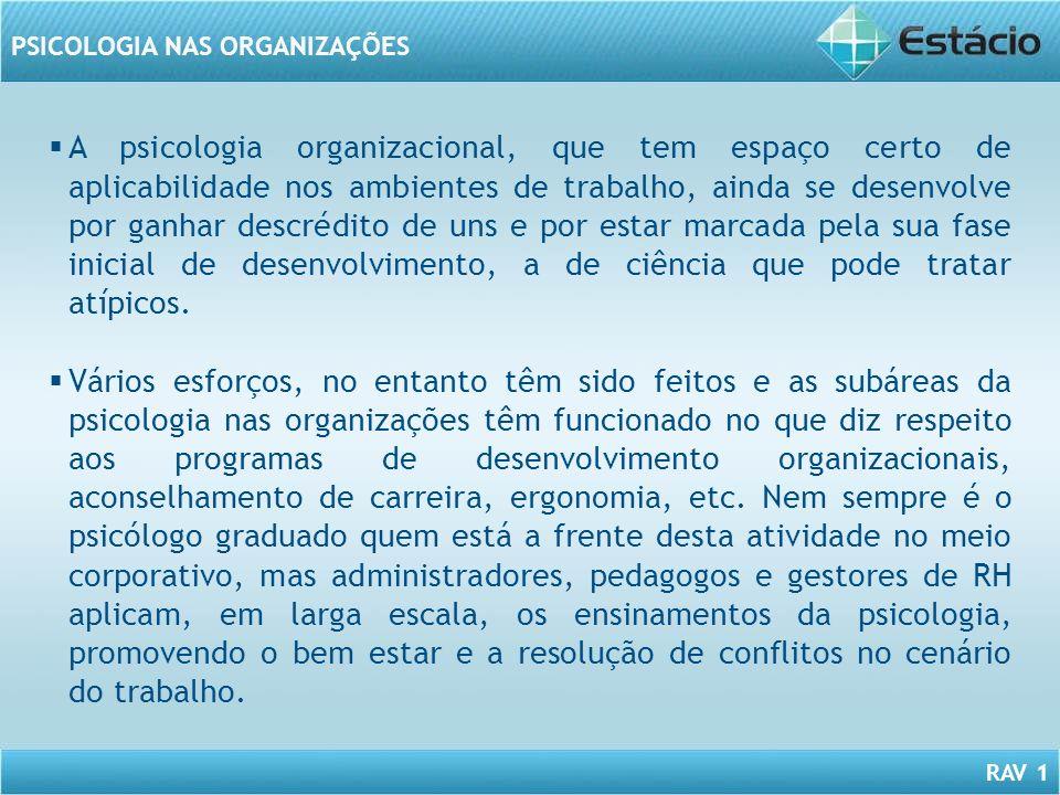 RAV 1 PSICOLOGIA NAS ORGANIZAÇÕES A psicologia organizacional, que tem espaço certo de aplicabilidade nos ambientes de trabalho, ainda se desenvolve p