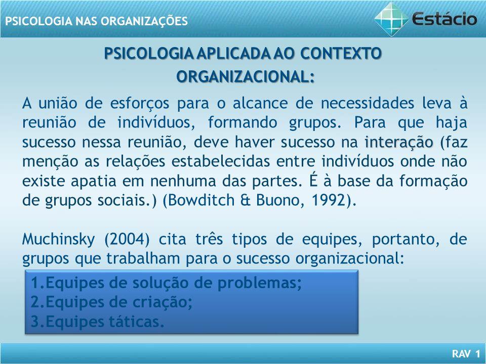 RAV 1 PSICOLOGIA NAS ORGANIZAÇÕES PSICOLOGIA APLICADA AO CONTEXTO ORGANIZACIONAL: ORGANIZACIONAL: interação A união de esforços para o alcance de nece