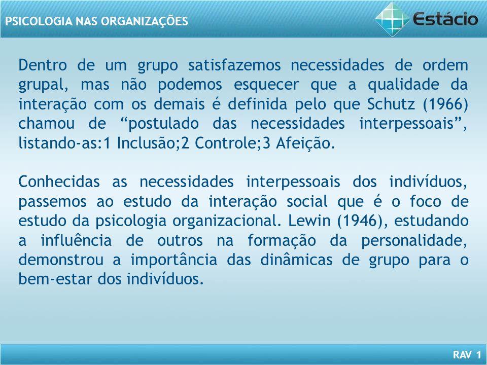 RAV 1 PSICOLOGIA NAS ORGANIZAÇÕES Dentro de um grupo satisfazemos necessidades de ordem grupal, mas não podemos esquecer que a qualidade da interação