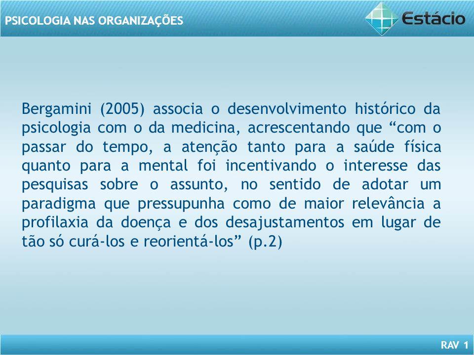 RAV 1 PSICOLOGIA NAS ORGANIZAÇÕES Bergamini (2005) associa o desenvolvimento histórico da psicologia com o da medicina, acrescentando que com o passar