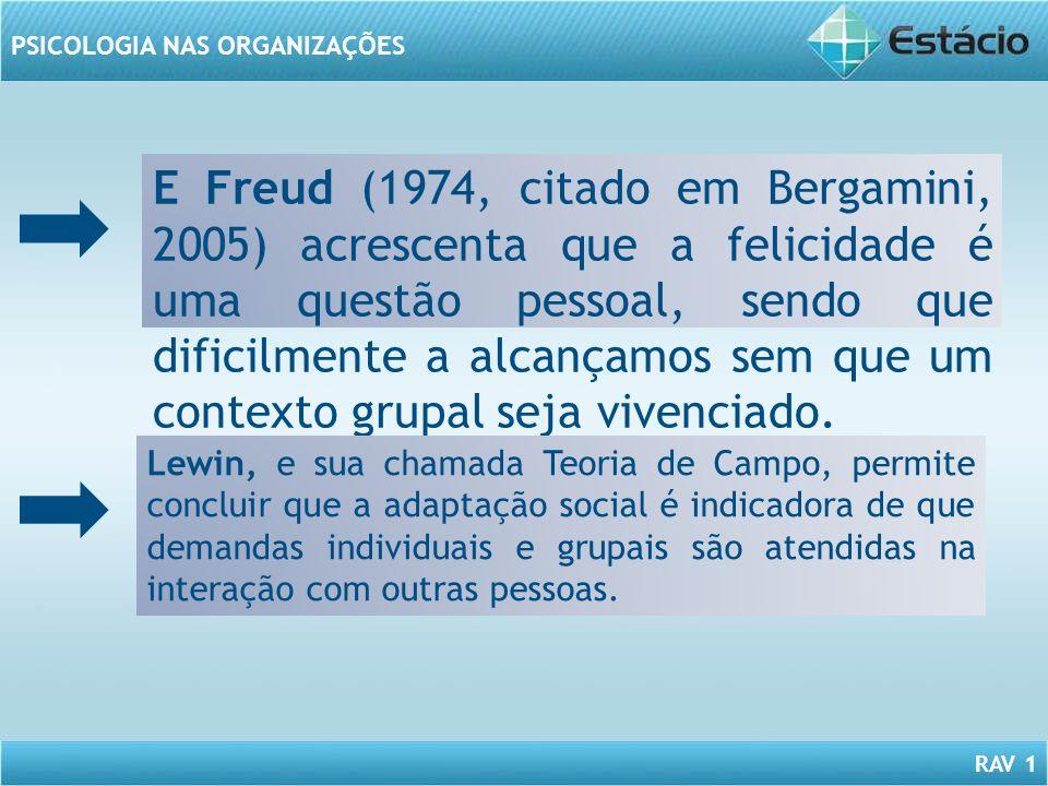 RAV 1 PSICOLOGIA NAS ORGANIZAÇÕES E Freud (1974, citado em Bergamini, 2005) acrescenta que a felicidade é uma questão pessoal, sendo que dificilmente