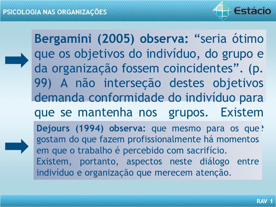 RAV 1 PSICOLOGIA NAS ORGANIZAÇÕES Bergamini (2005) observa: seria ótimo que os objetivos do indivíduo, do grupo e da organização fossem coincidentes.
