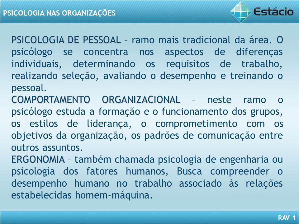 RAV 1 PSICOLOGIA NAS ORGANIZAÇÕES PSICOLOGIA DE PESSOAL PSICOLOGIA DE PESSOAL – ramo mais tradicional da área. O psicólogo se concentra nos aspectos d