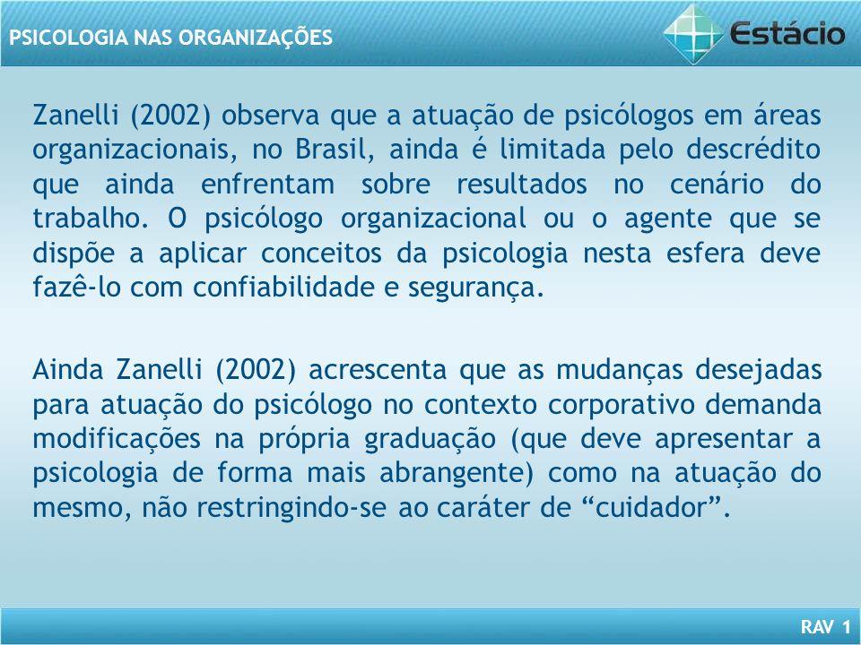 RAV 1 PSICOLOGIA NAS ORGANIZAÇÕES Zanelli (2002) observa que a atuação de psicólogos em áreas organizacionais, no Brasil, ainda é limitada pelo descré