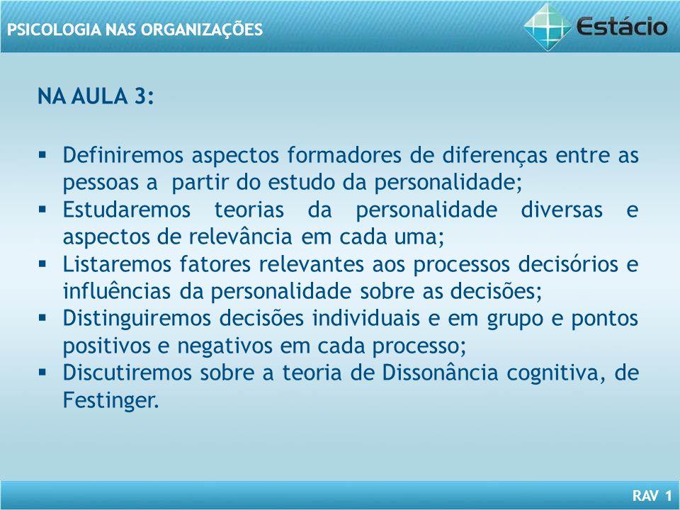 RAV 1 PSICOLOGIA NAS ORGANIZAÇÕES Definiremos aspectos formadores de diferenças entre as pessoas a partir do estudo da personalidade; Estudaremos teor