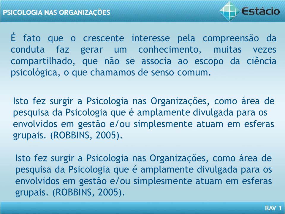 RAV 1 PSICOLOGIA NAS ORGANIZAÇÕES É fato que o crescente interesse pela compreensão da conduta faz gerar um conhecimento, muitas vezes compartilhado,