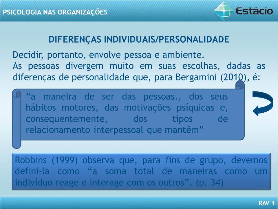 RAV 1 PSICOLOGIA NAS ORGANIZAÇÕES DIFERENÇAS INDIVIDUAIS/PERSONALIDADE Decidir, portanto, envolve pessoa e ambiente. As pessoas divergem muito em suas
