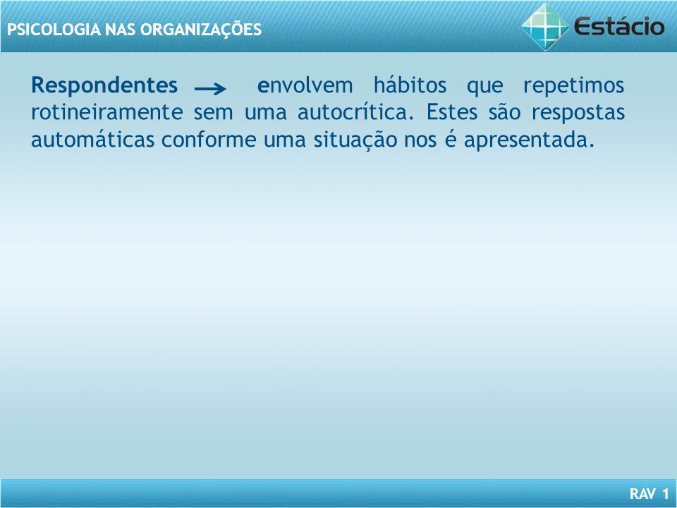 RAV 1 PSICOLOGIA NAS ORGANIZAÇÕES Respondentes envolvem hábitos que repetimos rotineiramente sem uma autocrítica. Estes são respostas automáticas conf